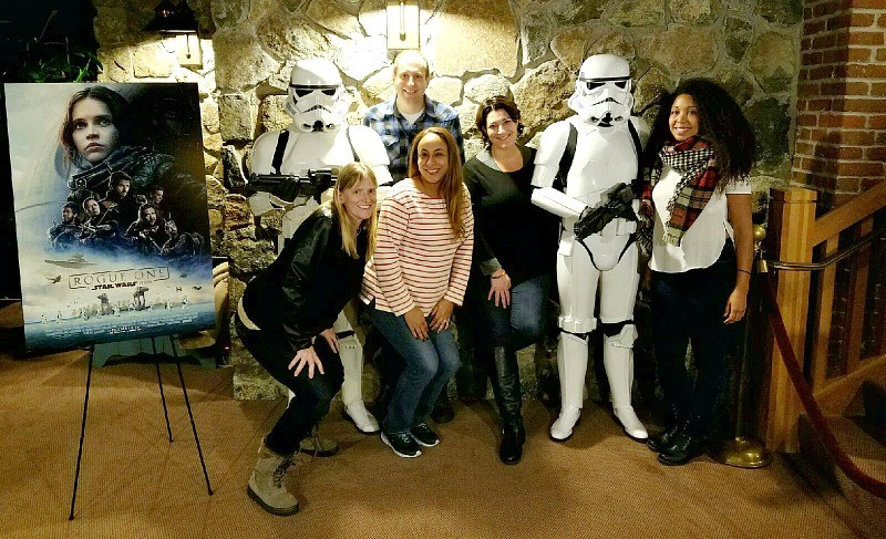 Disney bloggers at Skywalker Ranch pose with Stormtroopers for the Rogue One Star Wars press day, December 3, 2016