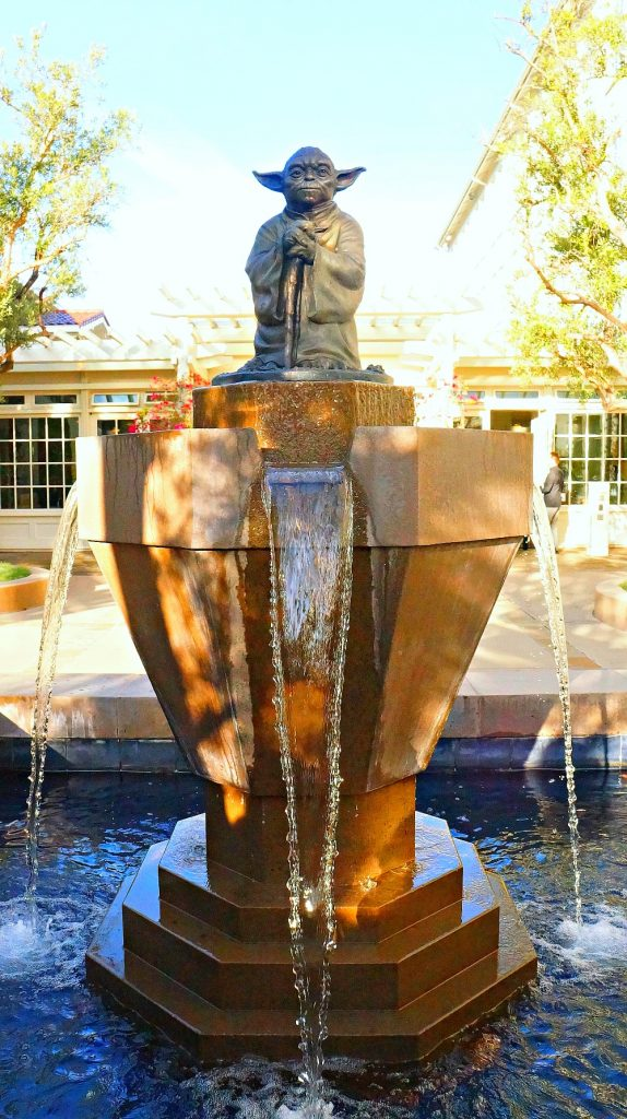 The infamous Yoda Fountain that sits in front of Lucasfilm Headquarters