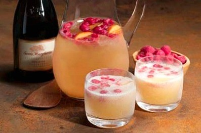 Raspberry peach punch with Prosecco cocktail recipe