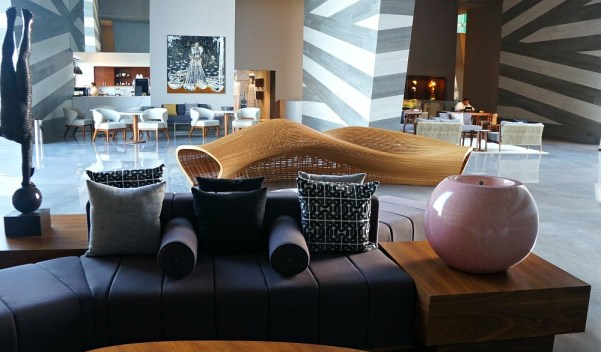 Beautifully decorated lobby at the Grand Velas Los Cabos resort