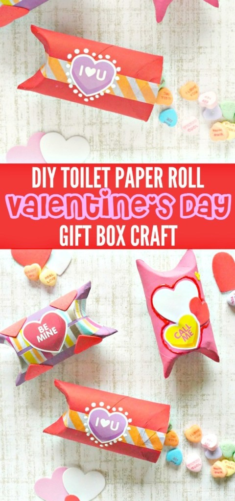 DIY Valentine's Day Toilet Paper Roll Gift Box Craft - so cute for kids to make!
