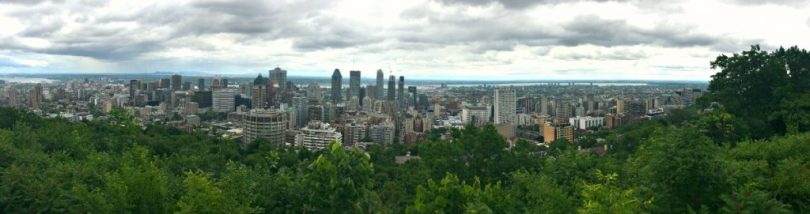 Hiking Parc du Mont Royal panoramic view at the lookout at the top in Montreal, Quebec, Canada