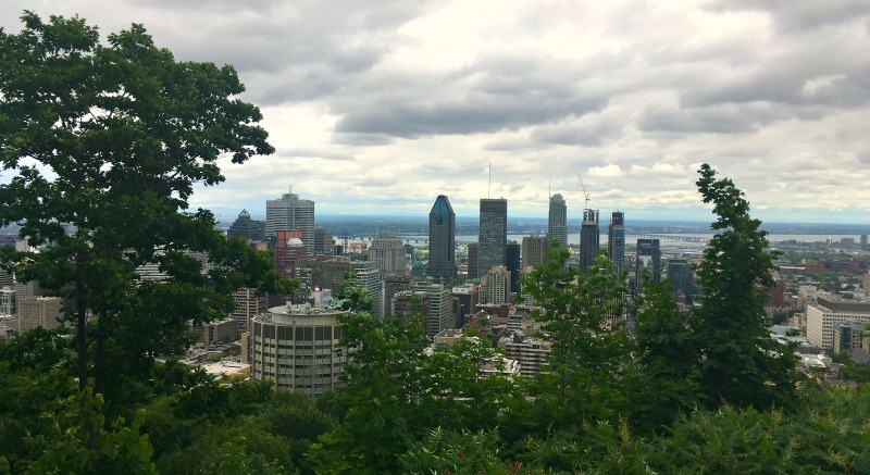 Hiking Parc du Mont Royal, the view of Downtown Montreal from the Mont Royal lookout point at the top of the mountain