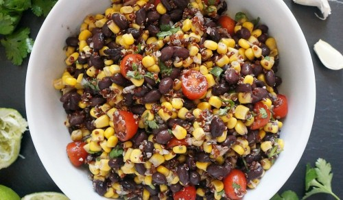 Southwest black bean and corn salad recipe with red quinoa