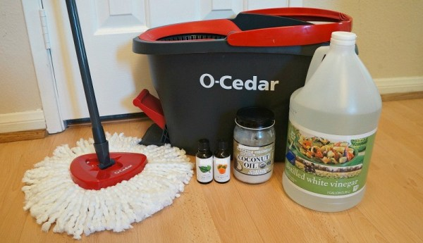 DIY orange scented natural wood floor cleaner