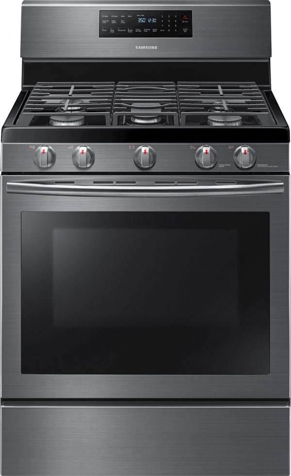 Samsung Remodel at Best Buy - Self Cleaning Gas Convection Range Stove in black stainless steel