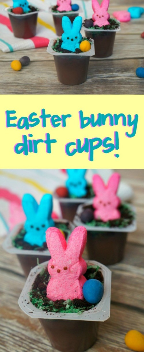 Super Cute Chocolate Pudding Easter Bunny Dirt Cups - So Easy To Make!