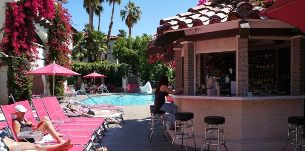 Family friendly hotels in Palm Springs, CA, the inviting pool area at the Best Western Las Brisas Hotel