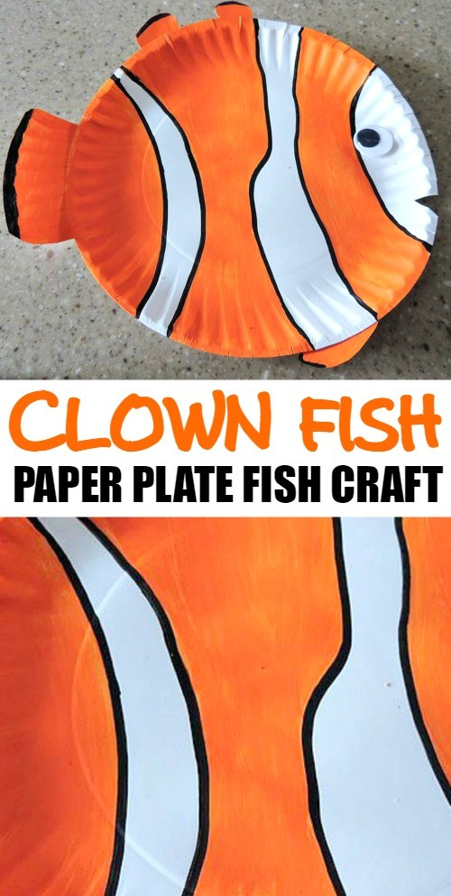 We love this tropical clown fish, such a cute paper plate fish craft for kids! It's easy to make this fish art project at home with your family