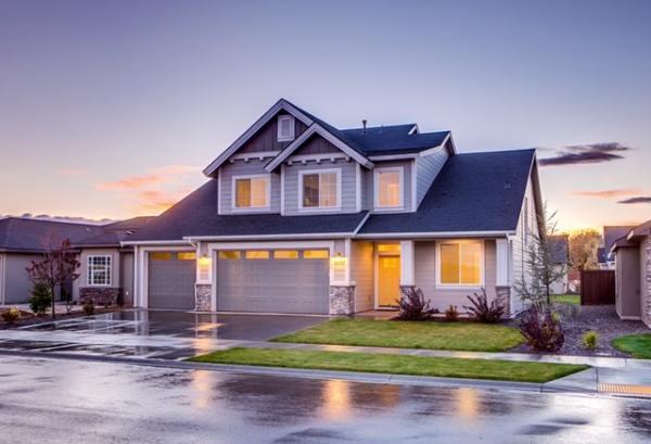Beautiful suburban home at dusk
