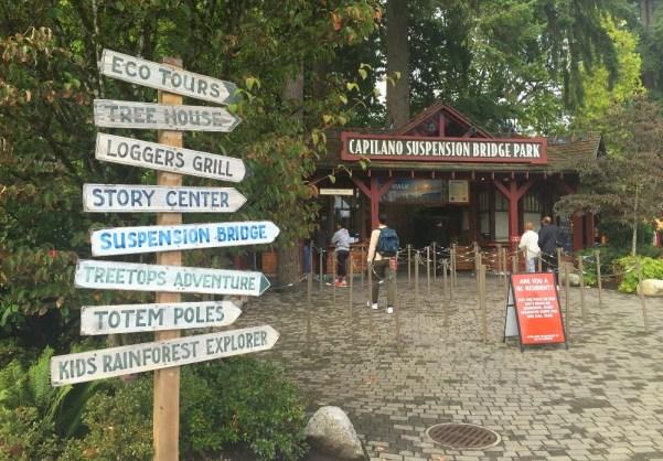 Entrance to the Capilano Suspension Bridge Park in Vancouver BC Canada