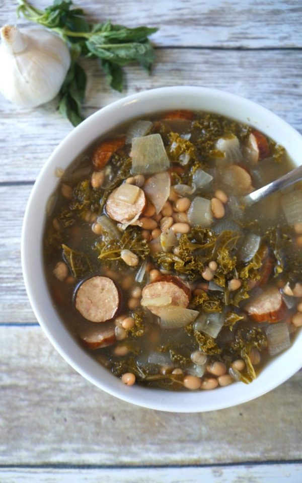 Hearty slow cooker chicken sausage kale and white bean soup