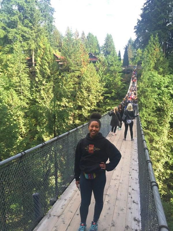 Standing on the Capilano Suspension Bridge