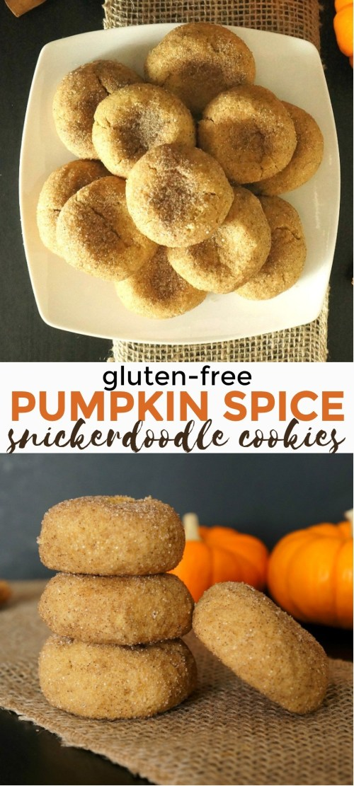 Soft Baked Gluten Free Pumpkin Spice Snickerdoodles Recipe - these gluten free pumpkin cookies are so delicious, you'll love how a snickerdoodle can taste great with a pumpkin spice flavor! soft pumpkin cookies | pumpkin snickerdoodles | gluten free pumpkin cookies | gluten free pumpkin recipes | pumpkin cookies healthy | pumpkin sugar cookies | pumpkin spice cookies