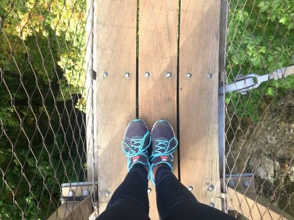 Walking on the Cliffwalk at Capilano Suspension Bridge Park