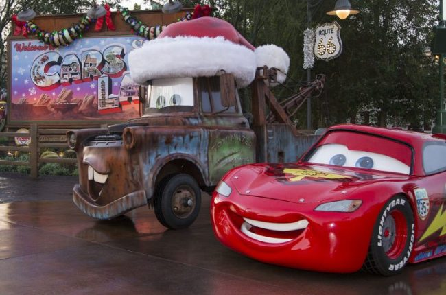 Cars Land is decorated for the holidays at Disney's California Adventure Park