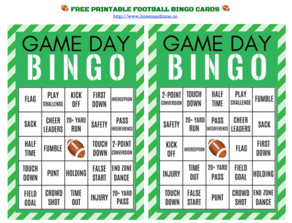 Free printable football bingo cards for game day, honeyandlime.co