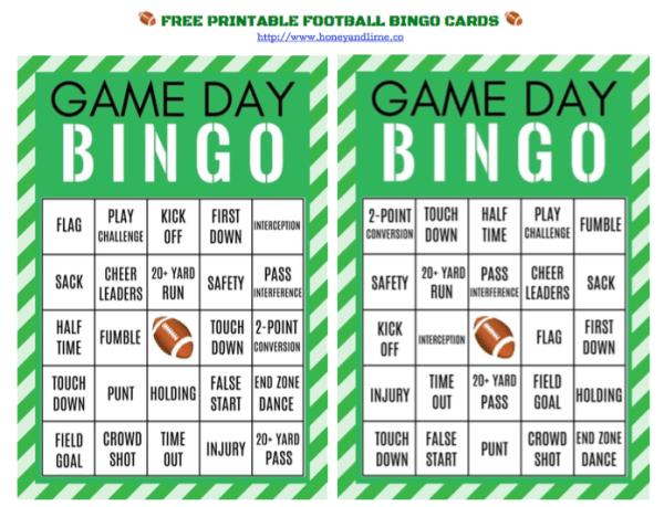 Free printable football bingo cards for game day, honeyandlime.co