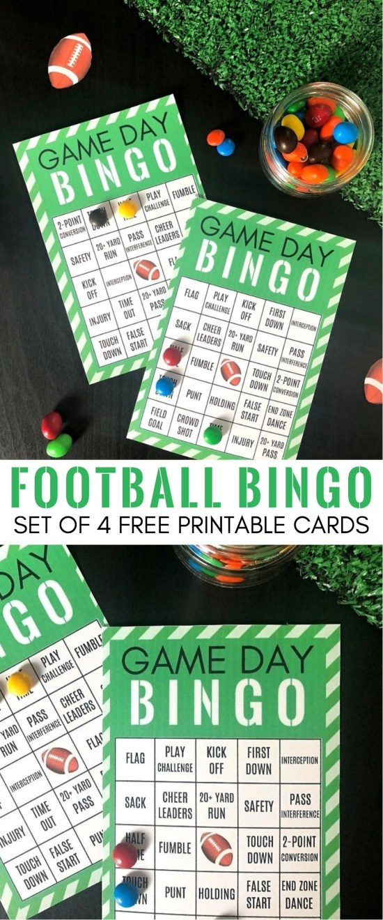 Game Day Party Ideas_ Free Printable Football Bingo Cards - Set of 4   football bingo cards free   football bingo cards to print   super bowl bingo cards   game day bingo   how to play football bingo   football themed bingo cards   football party bingo game   honeyandlime.co