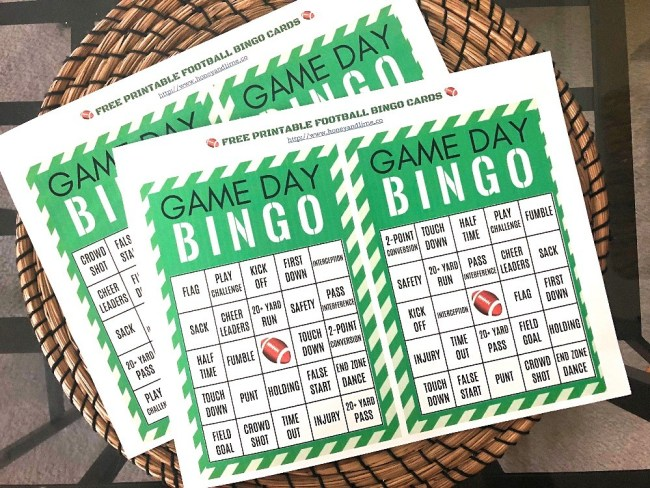 How to play football bingo - free printable football bingo cards