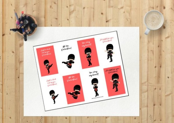 Ninja Printable Valentines Cards for kids - Merry About Town