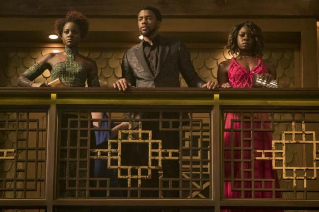 Black Panther movie casino fight scene, Lupita Nyong'o, Chadwick Boseman, Danai Gurira