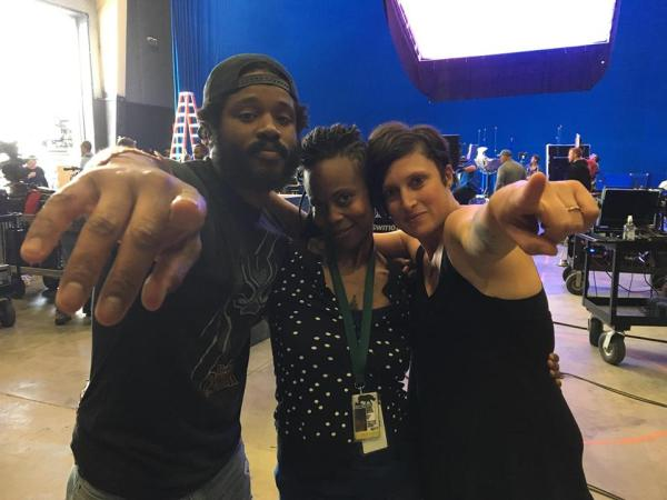 Hannah Beachler (middle) on Black Panther set with Ryan Coogler