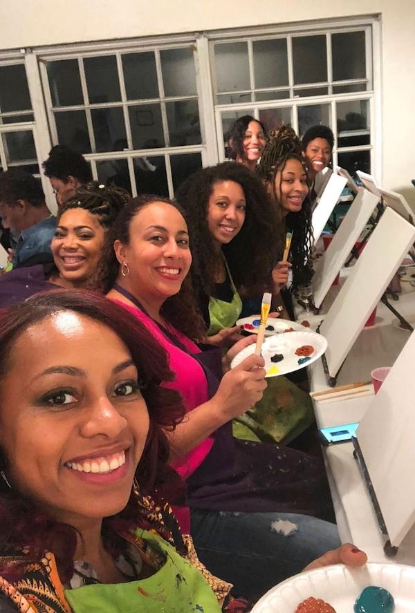 Ladies at Paint and Sip Los Angeles