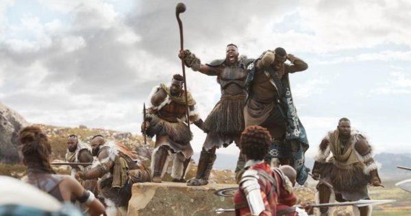 Marvel's Black Panther movie still, M'Baku in battle