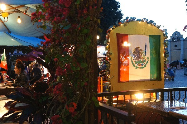 Mexican flag on Olvera Street Los Angeles CA
