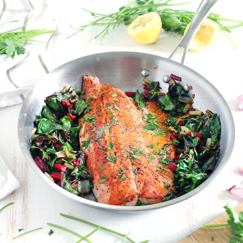 One pan garlic butter salmon and swiis chard - Bowl of Delicious