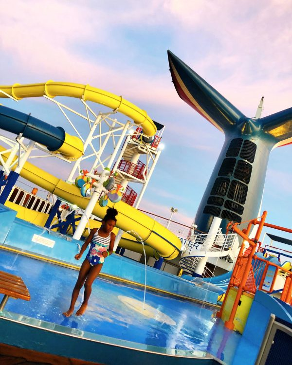 Things to do on Carnival Imagination cruise ship, Water Works splash pad and water slides on deck 11