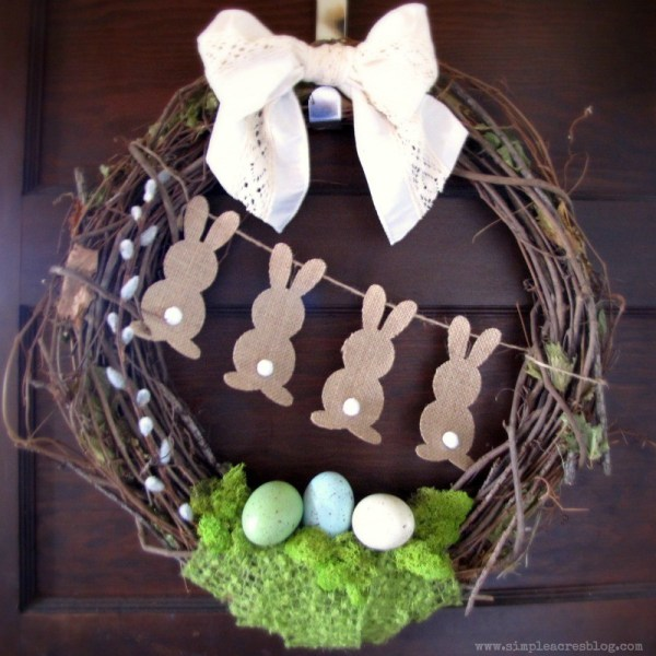 DIY spring Easter bunny bottoms wreath