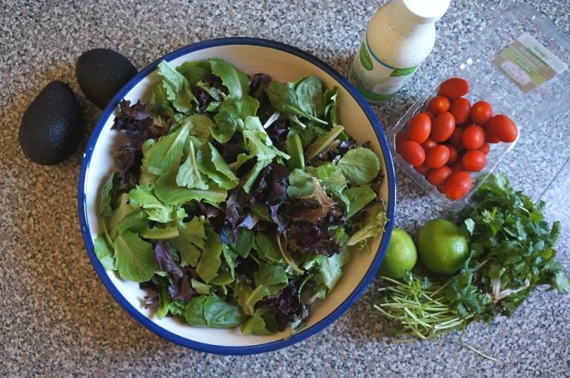 Salad greens and vegetable ingredients