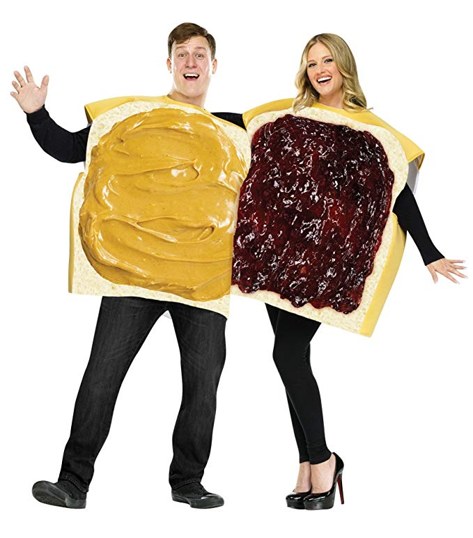 Halloween costume for couples - peanut butter and jelly sandwich