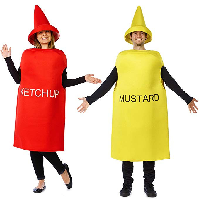 Halloween couples costumes - ketchup and mustard condiments costume set