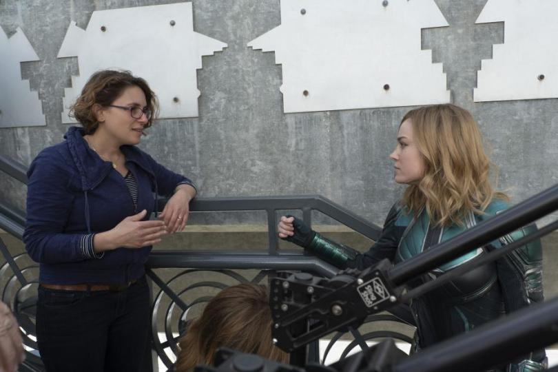 Captain Marvel Set Photos - Captain Marvel movie Director Anna Boden and Brie Larson, Carol Danvers