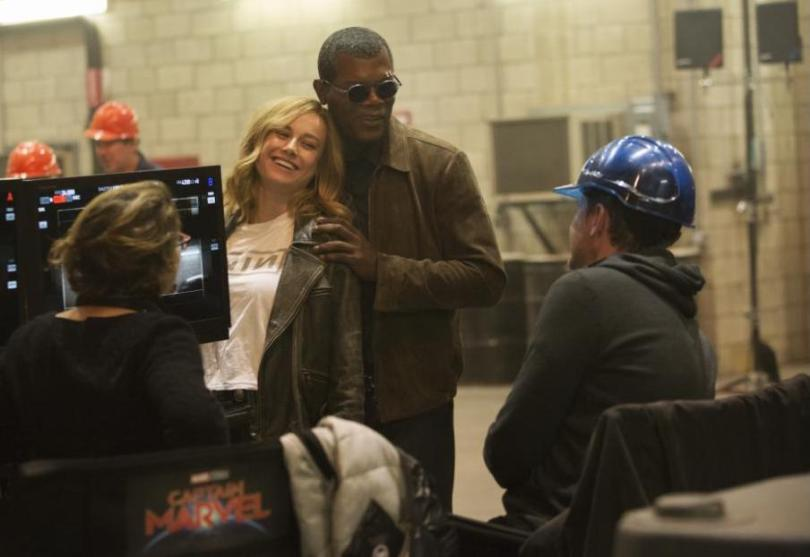 Captain Marvel set photos - Brie Larson and Samuel Jackson