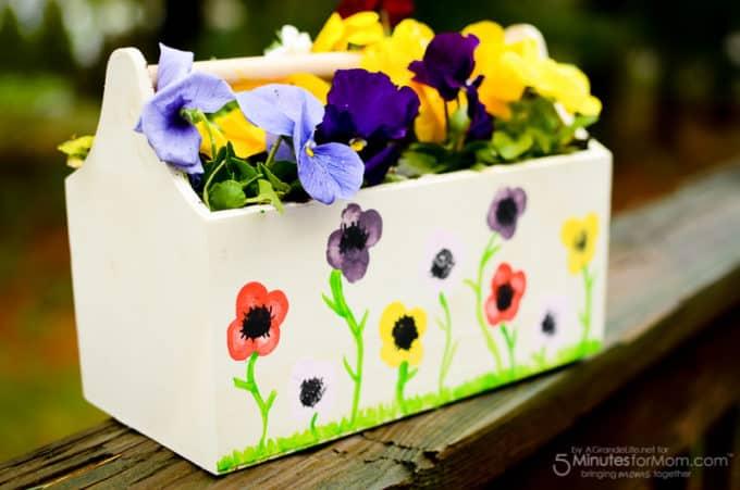 Flower thumbprint planter homemade mothers day gift idea