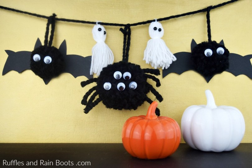 Halloween Pompom Banner Bats Ghosts Spiders, easy dollar store crafts by Ruffles and Rainboots