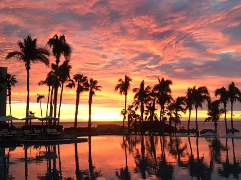 Sunrise at the Dreams Los Cabos main pool