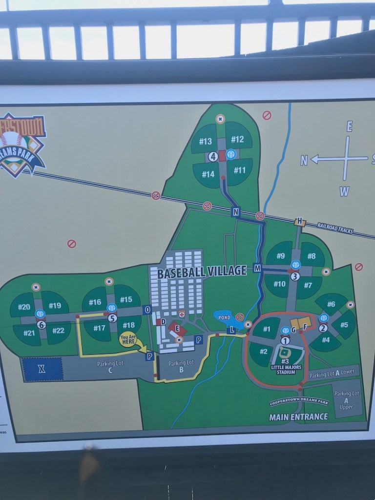 On-site map of Cooperstown Dreams park baseball village