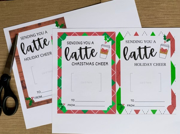 Print out the gift card holders PDF