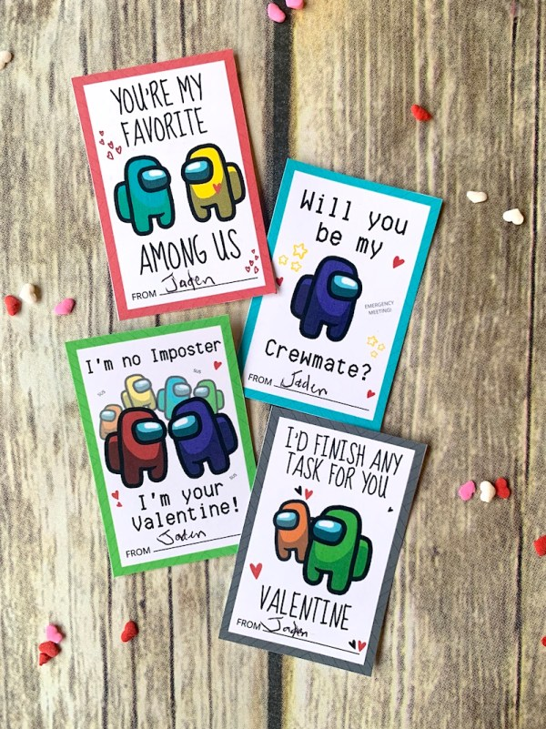 Free printable Among Us Valentine cards