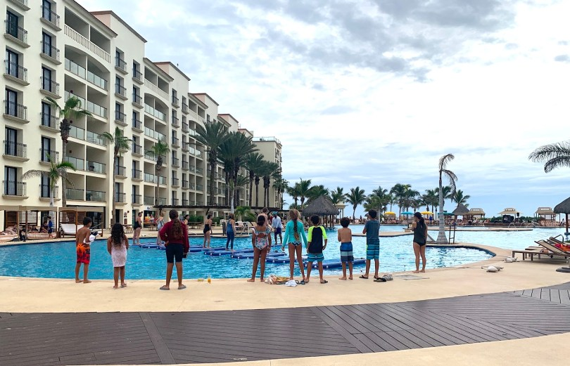 Water fitness activities for kids in the Hyatt Ziva Los Cabos pool
