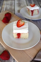 Slice of strawberry cake - white cake with strawberry filling