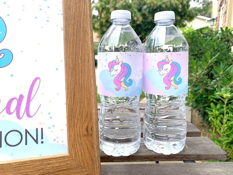 Free printable unicorn water bottle labels