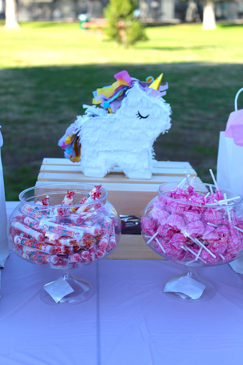 Unicorn party centerpiece mini pinata and candy