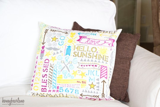 sharpie stenciled pillow