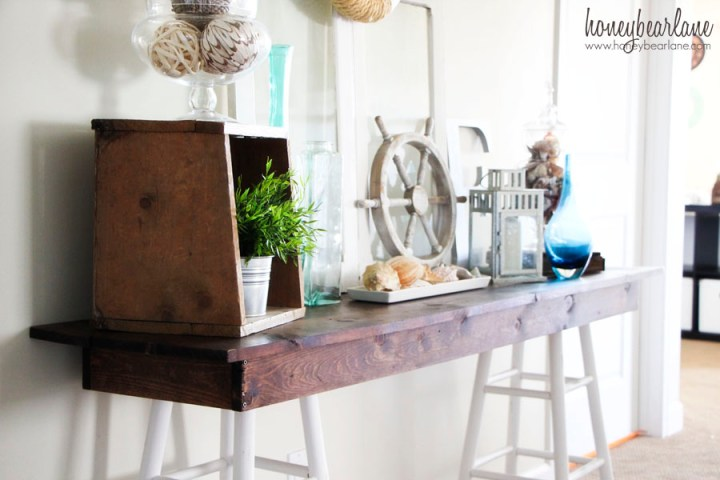 pottery barn knockoff console table